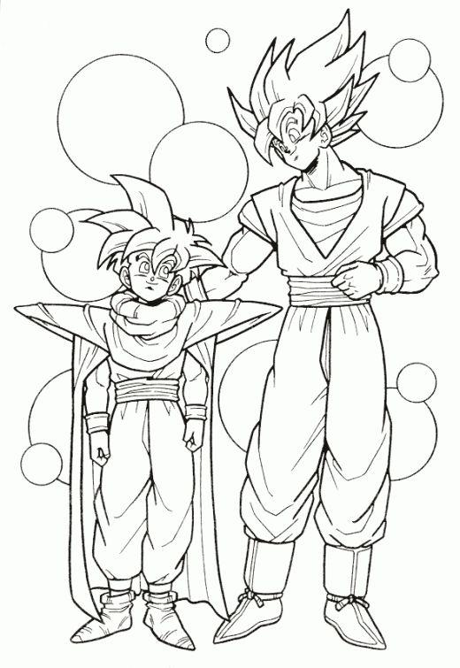 Dragon Ball Z Goku And Gohan Super Saiyan Coloring Page