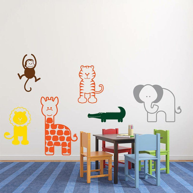 Farbige Tiere Wandtattoos Im Kinderzimmer Spielecke Gestalten
