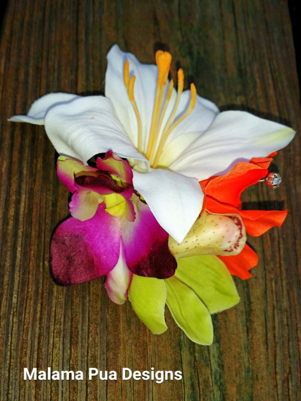 Tropical Flower Clip Orchids Lily Bridal Flower Beach Bride