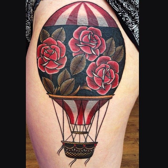 Neotraditional hot air balloon tattoo by Lauren Gow # ...