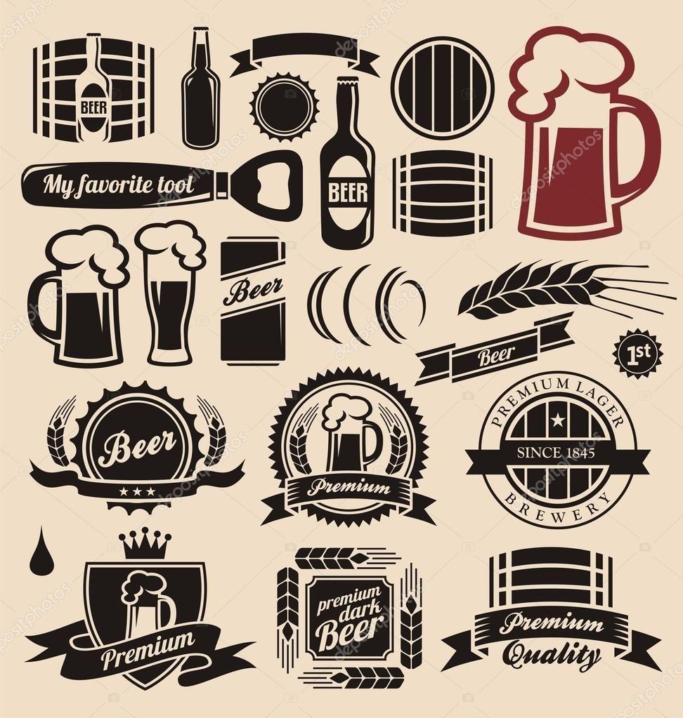 Icones De Cerveja Rotulos Sinais Desenhos De Logotipo E