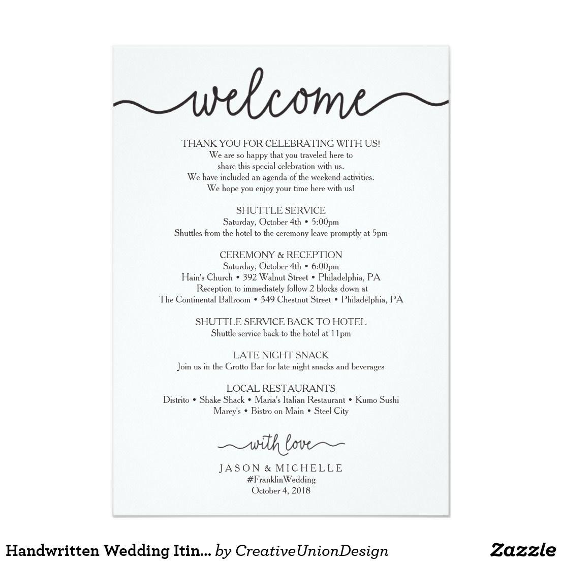 Handwritten Wedding Itinerary Wedding Welcome Zazzle