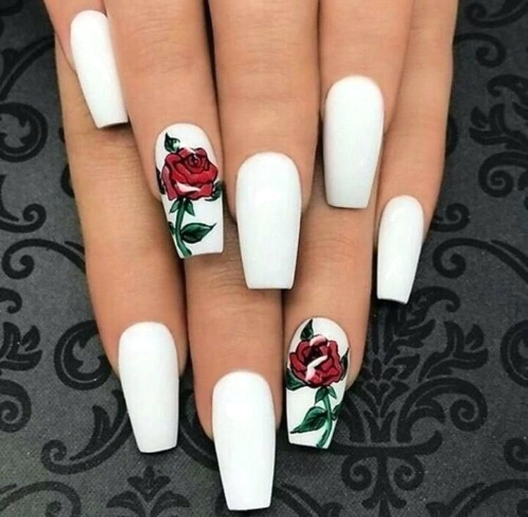 White Nails Acrylic Design X Red Roses Post Hairstyle Nail Ideas Rose Nails White Acrylic Nails Coffin Shape Nails