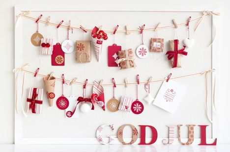 kikki.K Christmas Styling Inspiration: DIY Advent Calendar, featuring kikki.K Frost Collection stickers, stamps, wrapping, twine, cards, ornaments.