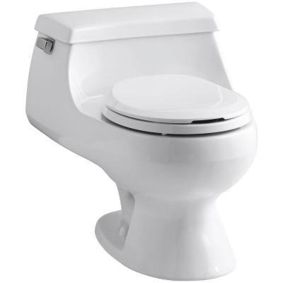 KOHLER Rialto 1-piece 1.6 GPF Single Flush Round Toilet in White ...