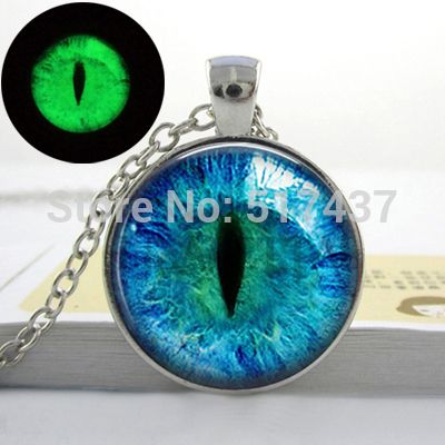 Blue cats eye necklace glowing eye pendant silver luminous blue cats eye necklace glowing eye pendant silver luminous picture glowing jewelry gifts for aloadofball Images