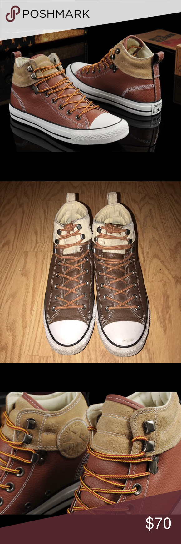 5973c563d2c0 CONVERSE Men s Chuck Taylor All Star Leather Suede Color  Brown Size  10.5  Material