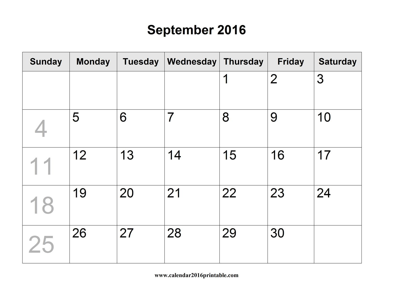 September  Calendar Printable Blank Free To Download And