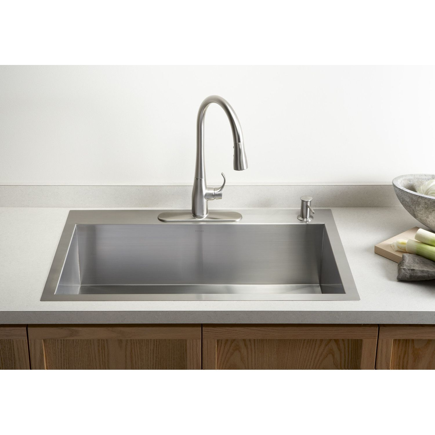 Vault 33 L X 22 W X 9 5 16 Top Mount Under Mount Large Single Bowl Kitchen Sink With Single Faucet Hole Modern Kitchen Sinks Top Mount Kitchen Sink Kohler Kitchen Sink