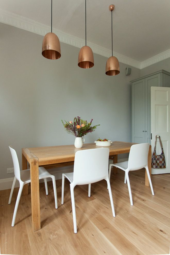 Charming copper pendant light home designing tips for Light blue dining room