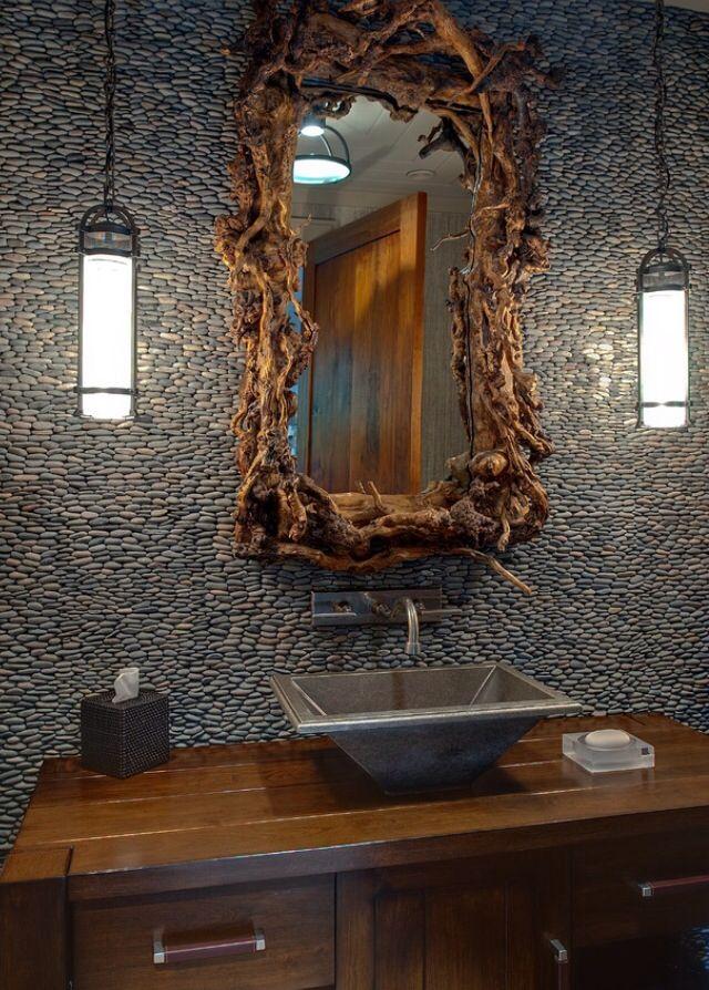 Rustic Stone Bathroom Tiles With Bronze Funnel Sink Badezimmer