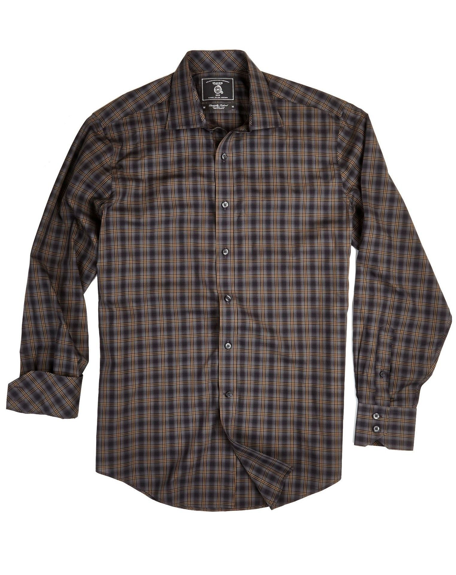 Maker and Company Dark Plaid Long Sleeve Shirt