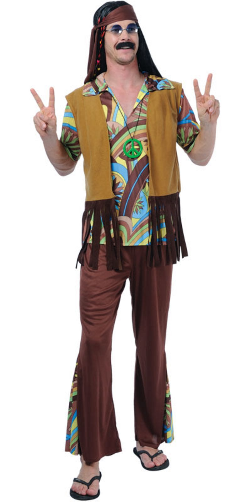 FANCY DRESS COSTUME MENS 1970/'S HIPPY GUY MED