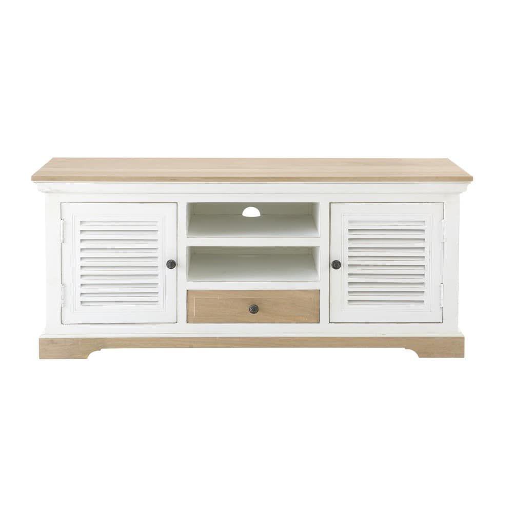 Meuble Tv 2 Portes 1 Tiroir En Manguier Massif Blanc Cezembre Retail Interior Design Home Residential Interior Design