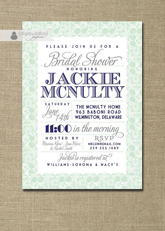 Lace Bridal Shower Invitation Navy Blue Pastel Mint Green Gray