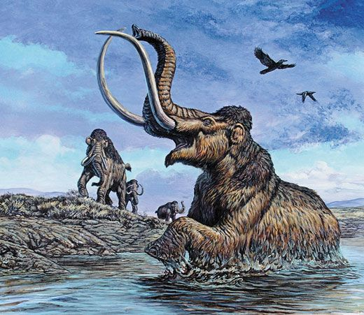 Mamutelanudo afundando num poço de piche mega fauna