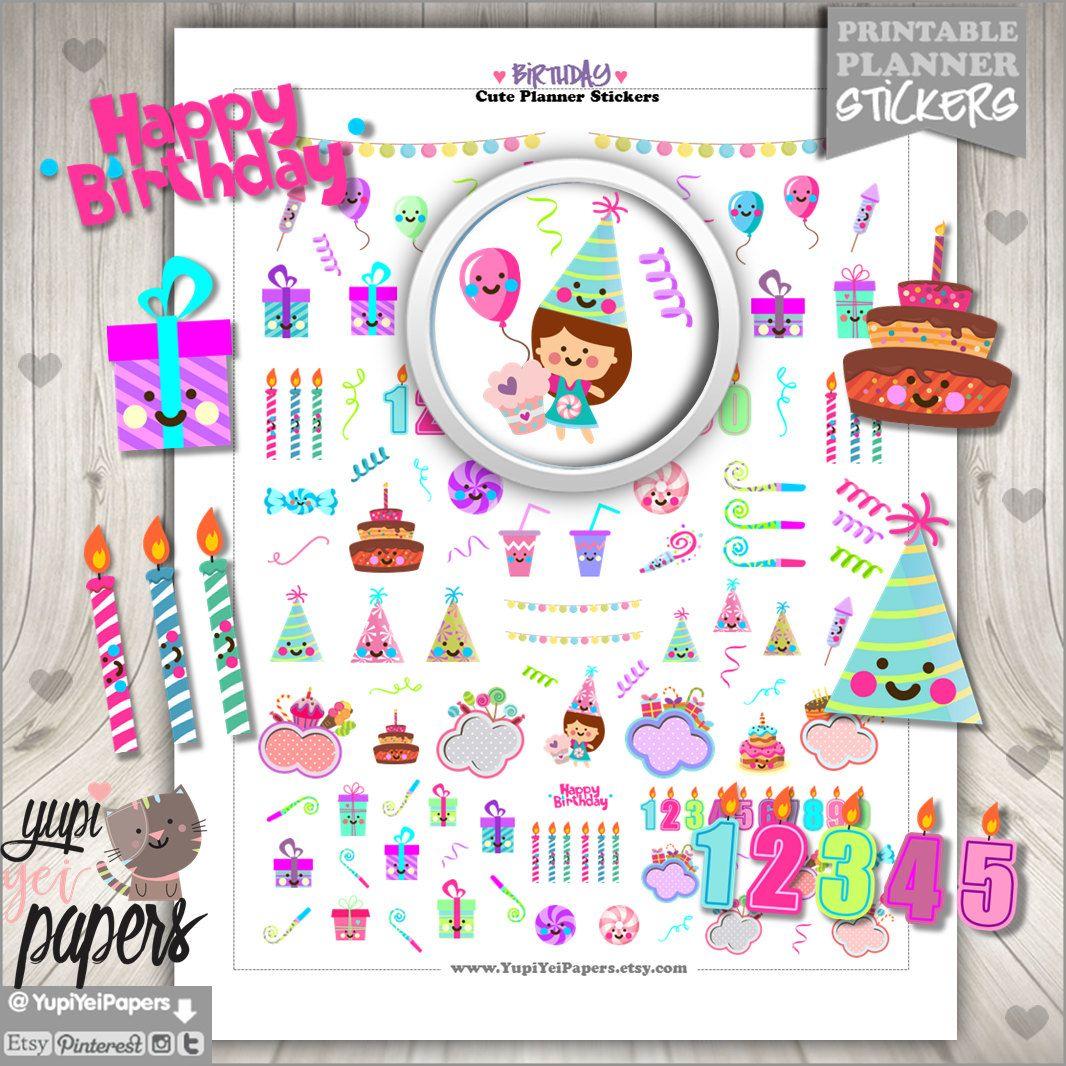 Birthday stickers planner stickers happy birthday for Happy planner accessories