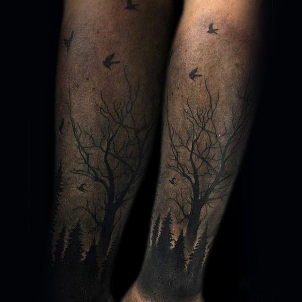 60 Unterarm-Baum Tattoo Designs für Männer - Waldtinten