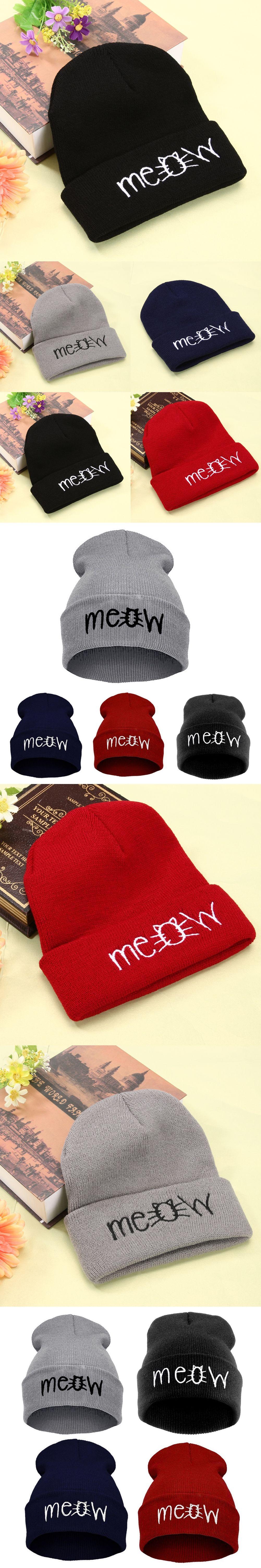 9c82f5cb7b8 KLV Autumn Winter MEOW Cap Men Women s Casual Hip Hop Hats Knitted Wool  Skullies Beanies Hat