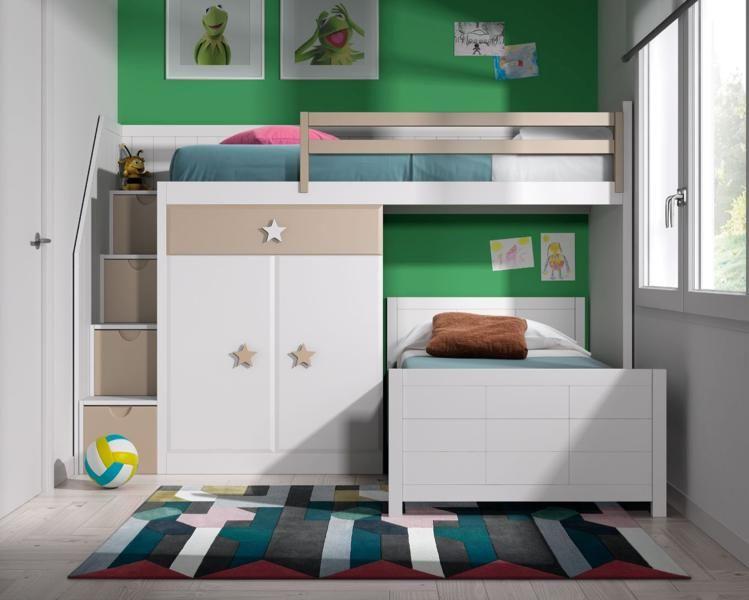 Conjunto litera dados tren l incluye cama baja cama alta - Medidas camas infantiles ...