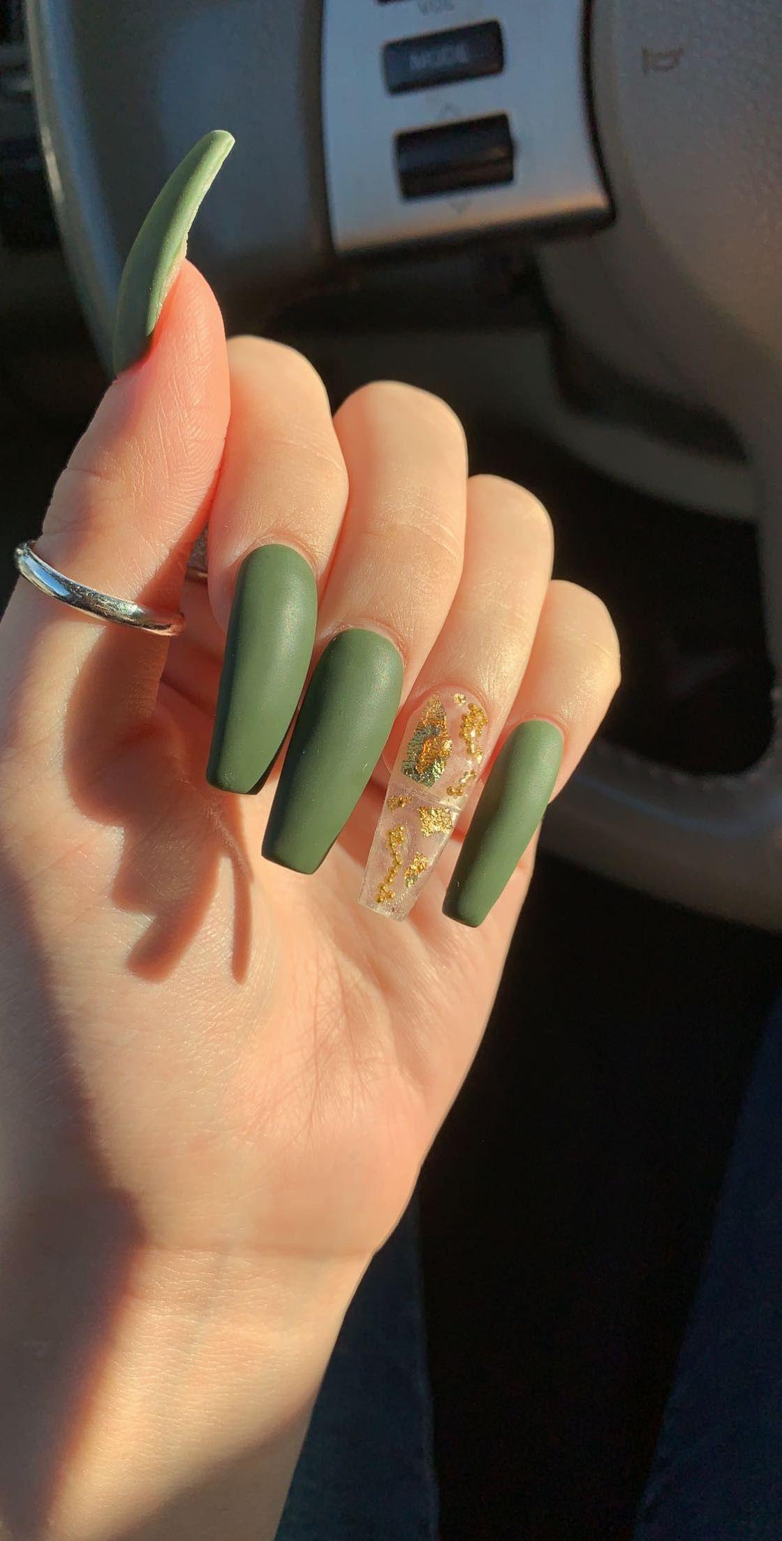 Fall Green Gold Flake Transparent Nails Gold Acrylic Nails Green Acrylic Nails Transparent Nails
