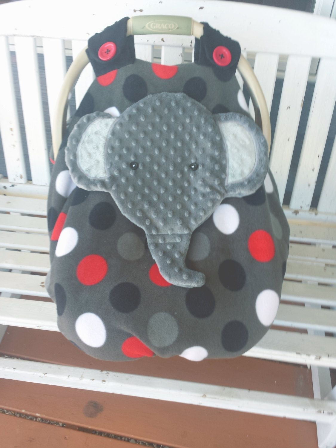 Made To Order Appliqued Elephant Fitted Fleece Car Seat Canopy With Peek-A--Boo Opening   Donu0027t Like This I Do custom Orders   & Made To Order Appliqued Elephant Fitted Fleece Car Seat Canopy ...