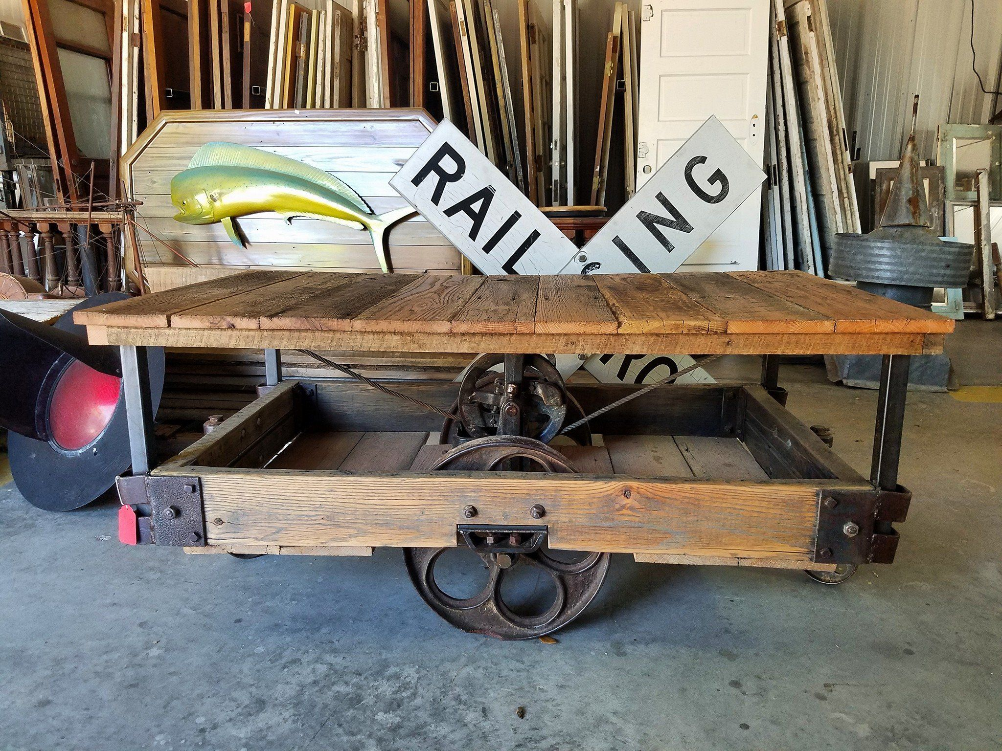 Railroad cart turned coffee table This custom piece is a restored