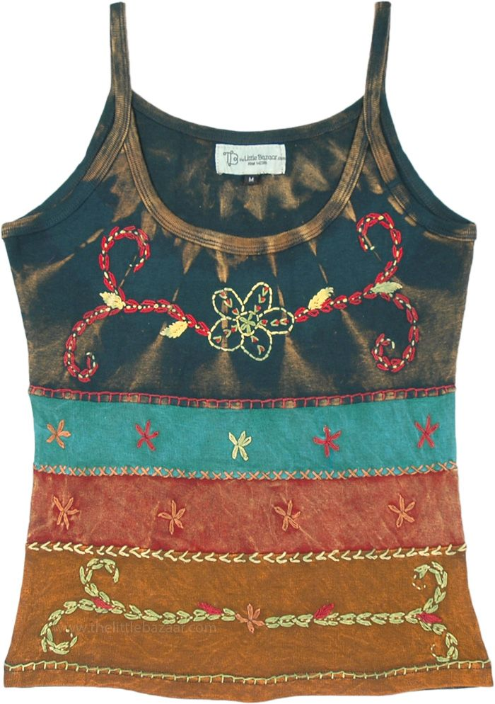 Multicolored Floral Embroidery Stonewashed Cotton