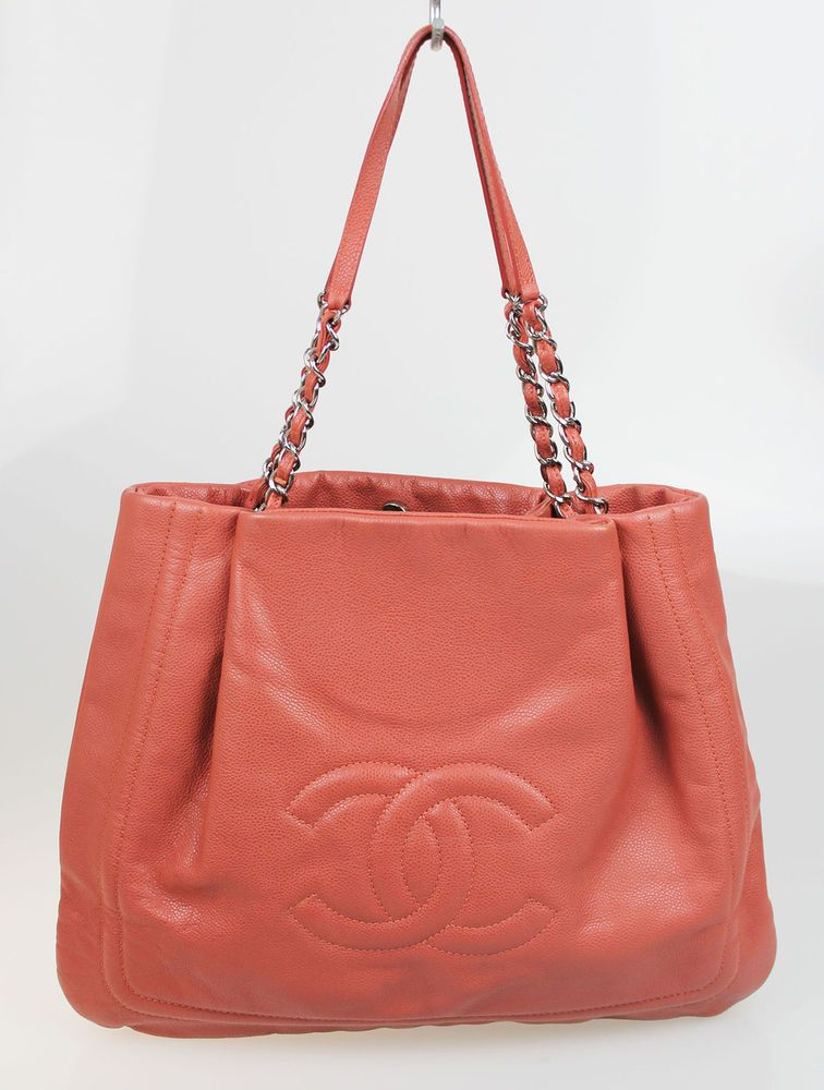 Chanel Salmon Pink Leather Large Grand Shopper Tote Shoulder Bag ...