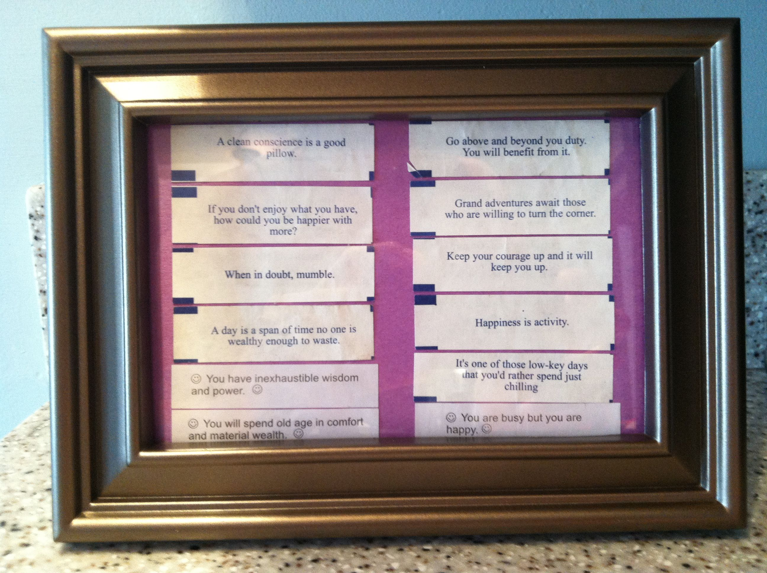 Save fortunes from fortune cookies and make an interesting quote save fortunes from fortune cookies and make an interesting quote picture frame great diy project jeuxipadfo Gallery