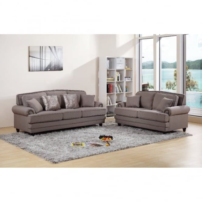 Chic My Room contemporary Nicole upholstered suite 3+2 sofa settee mink neutral comfortable living room seating