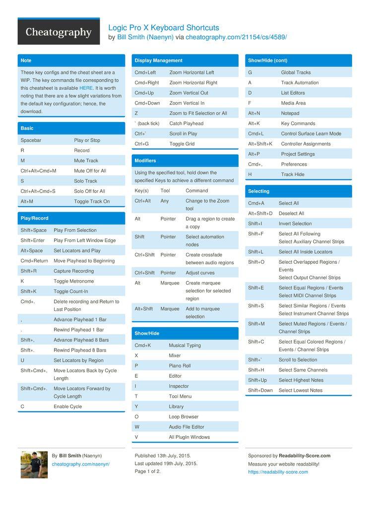 Logic pro x keyboard shortcuts by naenyn httpwww