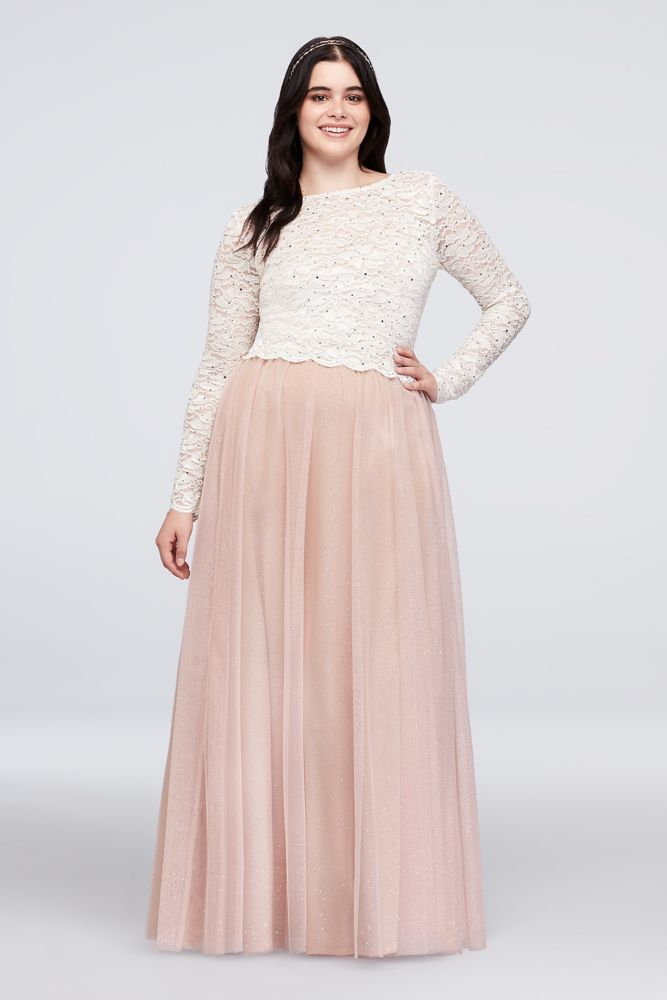Dotted Lace Top and Tulle Skirt Plus Size Set - Blush (Pink), 19 ...
