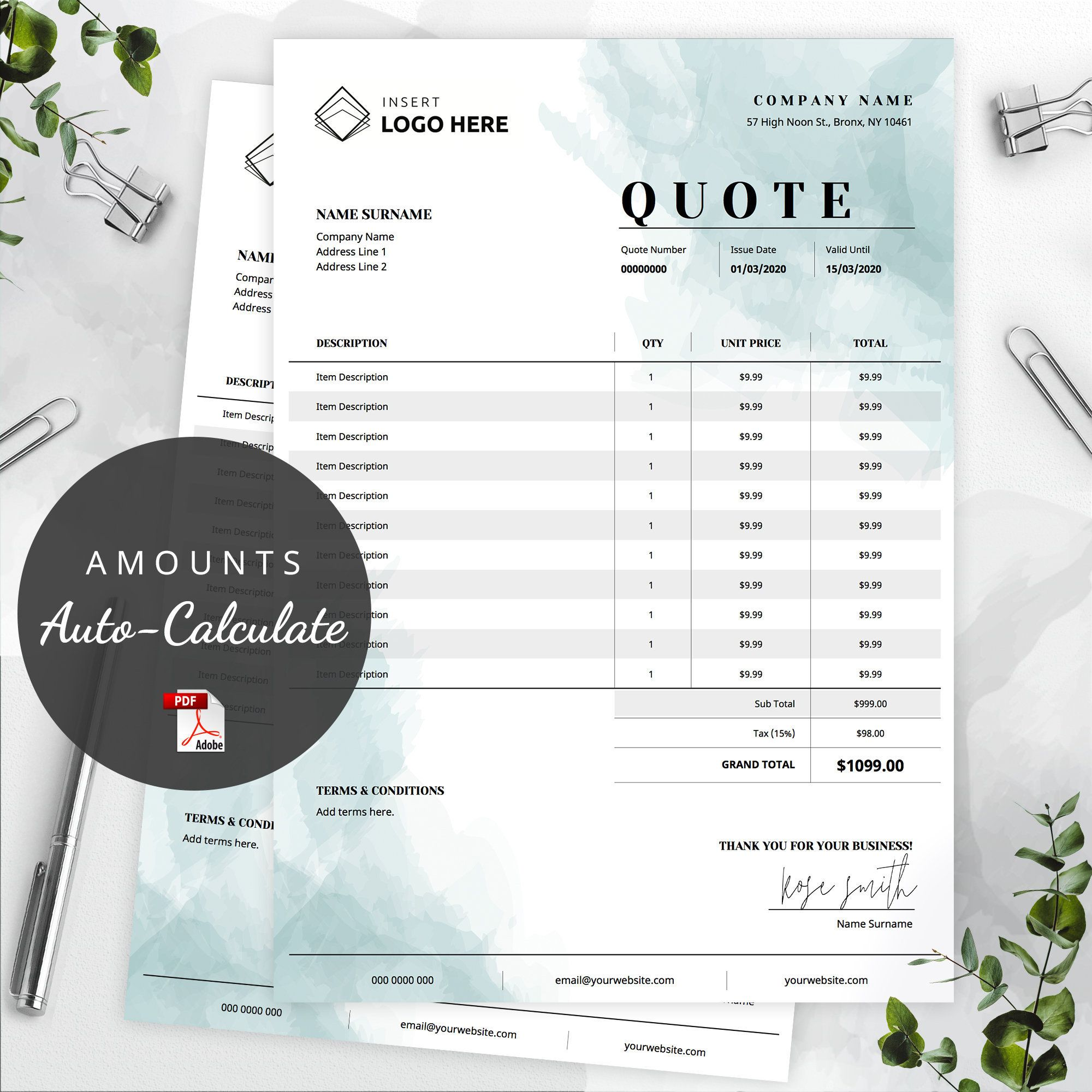 Custom Order Form Template Photographer Quote Pdf Business Etsy Invoice Template Quote Template Order Form Template