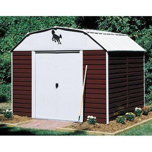 Arrow Red Barn High Gambrel Steel Shed 10x8 W Foundation Kit Outdoor Storage Sheds Shed Vinyl Sheds