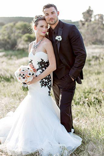 Off white wedding dress groom shirt
