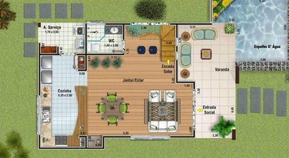Plano de casa moderna de 150 m2 dise o de techo for Disenos de casas 120 m2