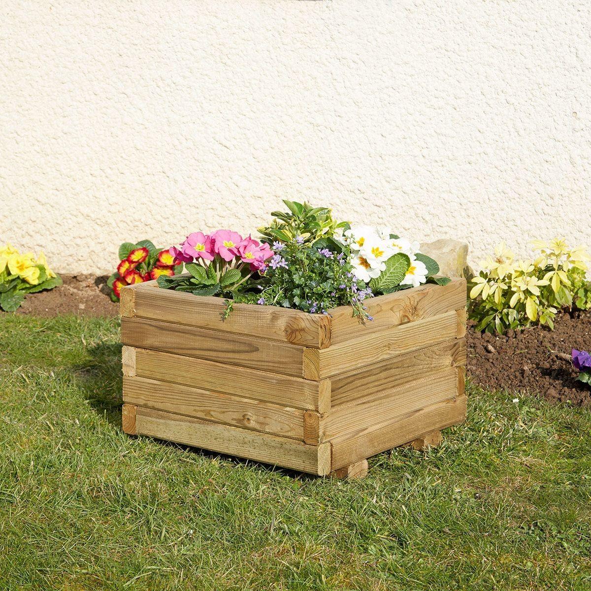 Jardiniere Carree En Bois Traite 41x41cm Primo Feutre