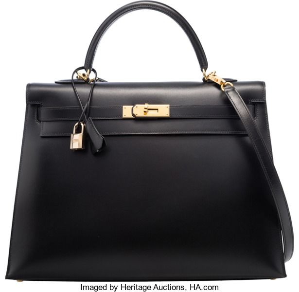 90407687580 ... uk hermes 35cm black calf box leather sellier kelly bag with  goldhardware. d square 2000