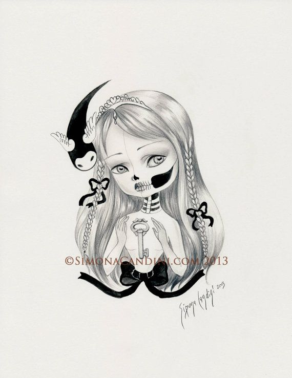 """The Golden Key LIMITED EDITION print signed numbered Simona Candini """"Bones And Poetry"""" lowbrow pop surreal big eyes sugar skull gothic art"""