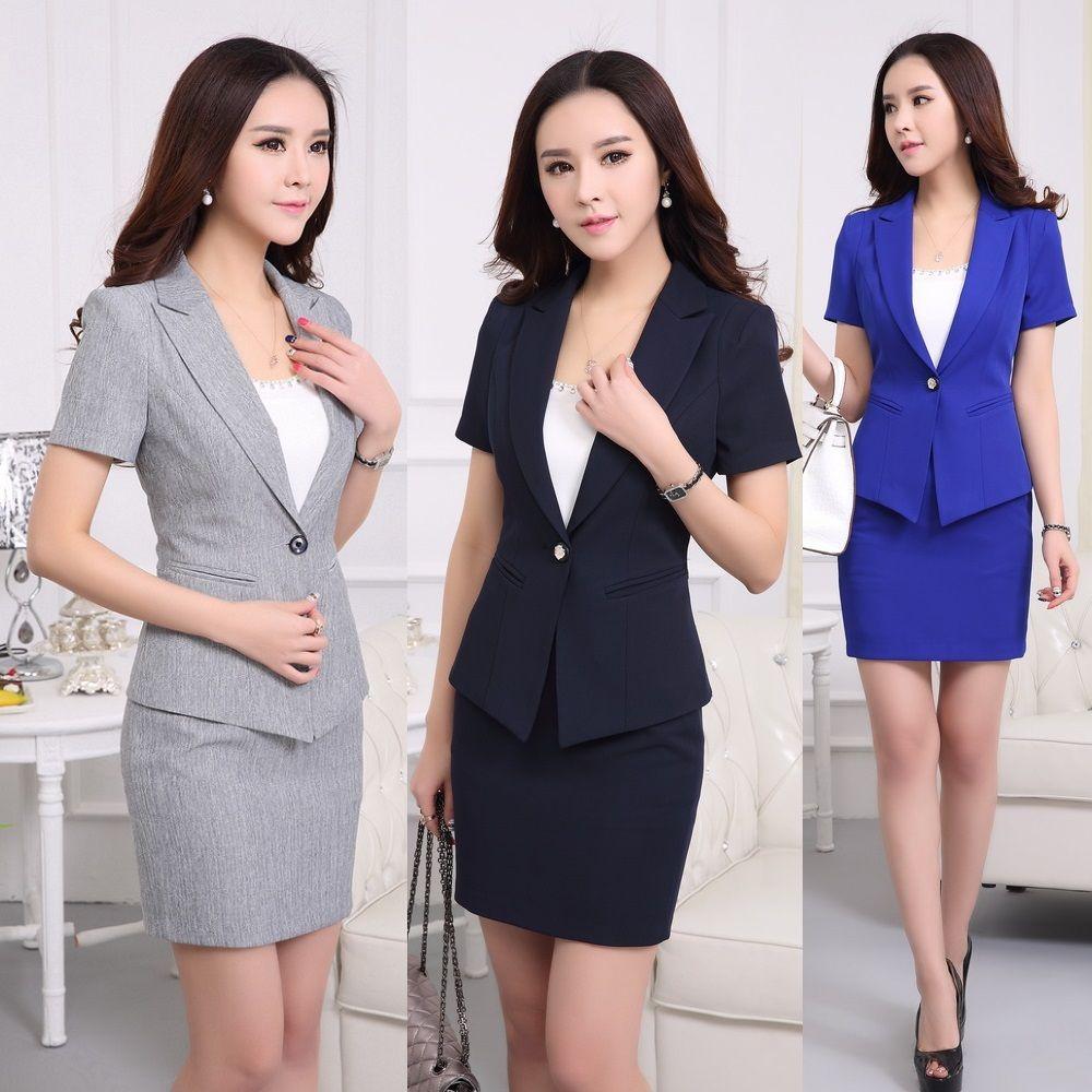e2c233696 Encontrar Más Trajes con Falda Información acerca de Formal uniforme damas  de oficina diseños gris Blazer mujer trajes con falda y chaqueta establece  nuevo ...