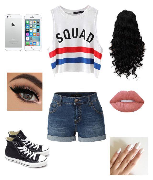 """Untitled #52"" by be-robinson ❤ liked on Polyvore featuring Chicnova Fashion, LE3NO, Converse and Lime Crime"