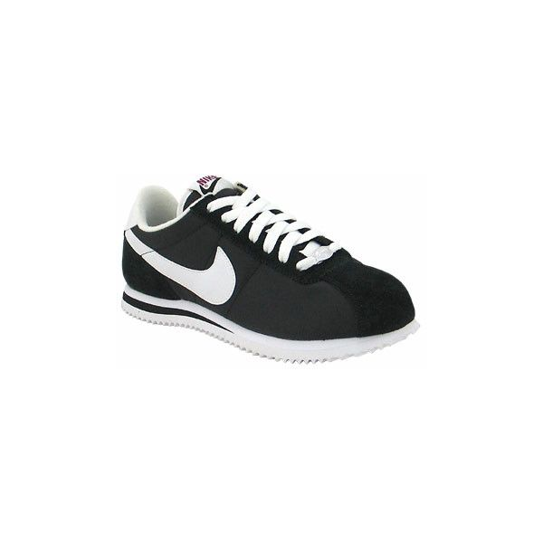 Journeys Shoes: Womens Nike Cortez - Black/White ($55) found on Polyvore