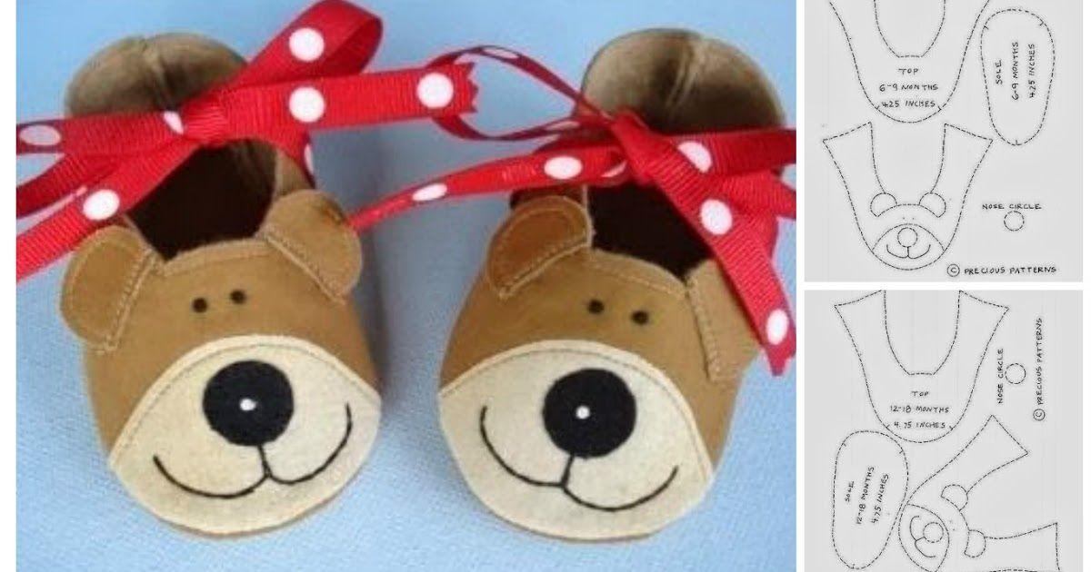 Pantuflas para niños -Moldes para imprimir | slippers kids | Pinterest