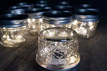 Quilted Mason Jars with Fairy Lights   wedding everything ... : quilted jars - Adamdwight.com
