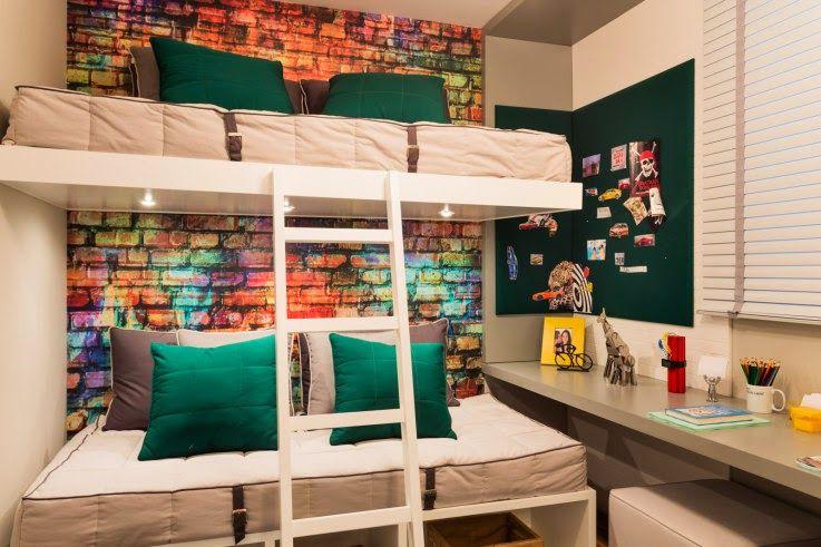 Ideias para decoração de quarto de menino Gosto do papel de parede e colocar