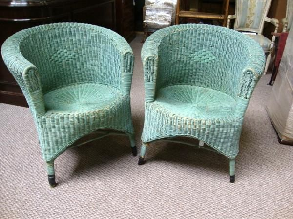 Painted Wicker | 296: Pr. PAINTED WICKER CHAIRS