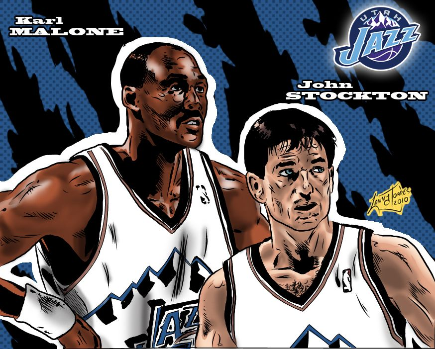 NBA Greats - Stockton Malone by Lannytorres