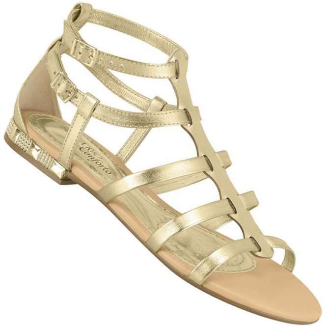 1118e117f Sandália Beira Rio Gladiadora Rasteira Feminina Dourada | sapatos ...
