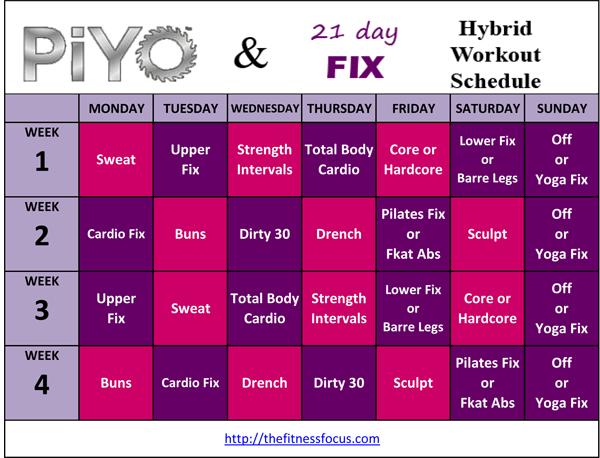 Calendario De 21 Day Fix Extreme.Piyo Hybrid Workout Schedules And Calendar Downloads 21